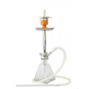 AMY Shisha Aero-X silberne Rauchsäule, weiss gemusterte Glasbowl (4 Schlauchanschlüsse)
