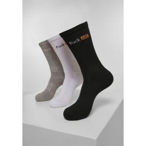 Fuck Off Socks Triple Pack schwarz weiß grau