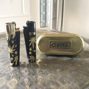 CLIPPER Feuerzeug Metal Flint (LEAVES GOLD)