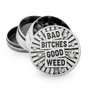 """Fire-Flow Metall Grinder """"Bad Bitches Good Weed"""" 50 mm 4-teilig"""