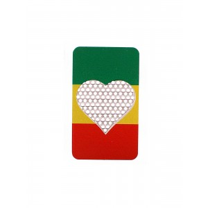 Credit Card Grinder Heart Rasta