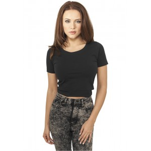 URBAN CLASSICS Ladies Cropped T-Shirt (schwarz)