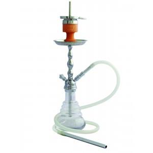 AMY Shisha Little Volcano 450 silberne Rauchsäule, transparente Glasbowl (2 Schlauchanschlüsse)