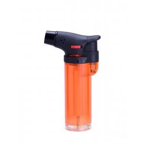 Jet Flame - Feuerzeug clear mit blauer Flamme (orange)