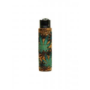 Clipper Feuerzeug Cork Cover Leaves #FF cyan (Handgenäht)