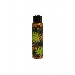 Clipper Feuerzeug Cork Cover Leaves #FF grün (Handgenäht)