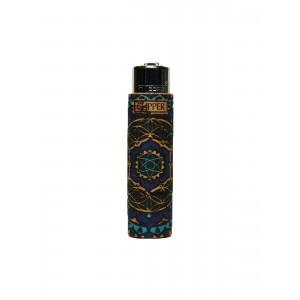 Clipper Feuerzeug Cork Cover Mandala #2 blau (Handgenäht)