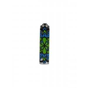 CLIPPER Feuerzeug Metal Cover Mandala blau-grün