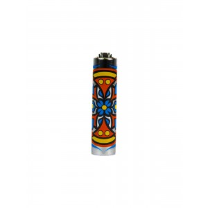 CLIPPER Feuerzeug Metal Cover Mandala blau-orange