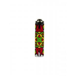 CLIPPER Feuerzeug Metal Cover Mandala rot-grün
