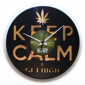 "Wanduhr ""Keep Calm & Get High Gold"" (DISC'O'CLOCK)"