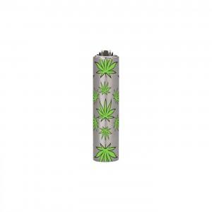 CLIPPER Feuerzeug Micro Metal Cover Leaves grün