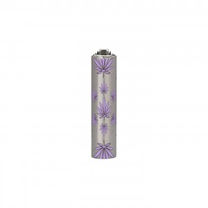 CLIPPER Feuerzeug Micro Metal Cover Leaves lila