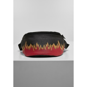 Mister Tee Flame Print Leather Imitation Hip Bag schwarz-rot