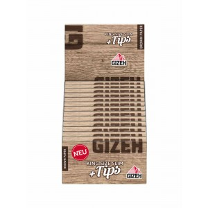 Gizeh Brown King Size Slim + Tips, 26er Großpackung