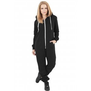 URBAN CLASSICS Ladies Sweat Jumpsuit schwarz/weis
