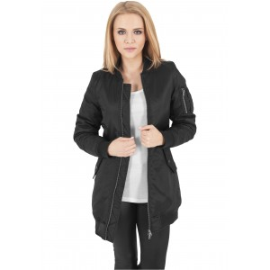 URBAN CLASSICS Ladies Long Bomber Jacket schwarz