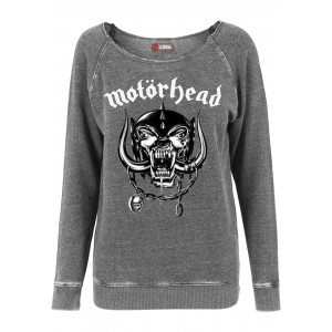 Merchcode Ladies Motörhead Logo Burnout Open Edge Crewneck dunkelgrau