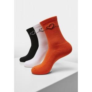 Heart Oneline Socks Triple Pack schwarz, weiß, orange