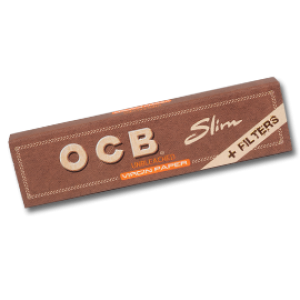 OCB unbleached Virgin King Size Slim Papers + Tips, Heftchen einzeln