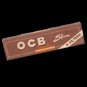 OCB unbleached Virgin King Size Slim Papers + Tips, Heftchen einzeln