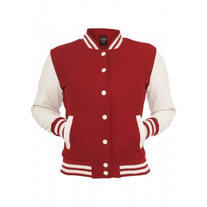URBAN CLASSICS Oldschool College Jacket rot/weiss