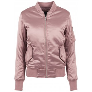 URBAN CLASSICS Ladies Satin Bomber Jacket altrosa