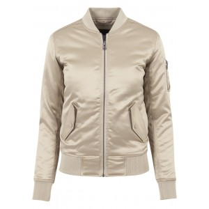 URBAN CLASSICS Ladies Satin Bomber Jacket gold