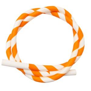 Silikon Shisha-Schlauch orange-weiss (Sama)