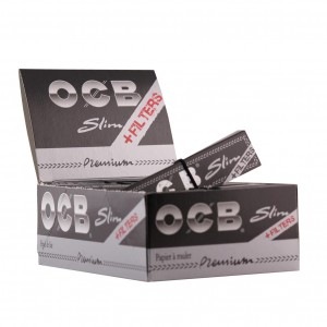 OCB Schwarz Premium Slim Long Papers mit Filter-Tips, 32er Box