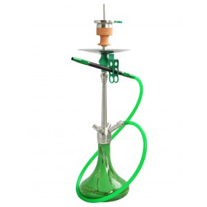 AMY Shisha Amy Shisha Feather Steel Rauchsäule, grün gemusterte Glasbowl (4 Schlauchanschlüsse)