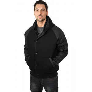 URBAN CLASSICS Hooded College Jacke schwarz