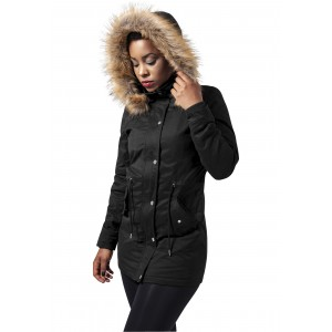 URBAN CLASSICS Ladies Sherpa Lined Peached Parka schwarz