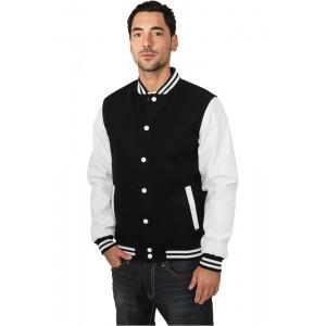URBAN CLASSICS Oldschool Collegejacke schwarz-weiß
