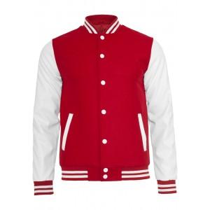 URBAN CLASSICS Oldschool Collegejacke rot-weiß