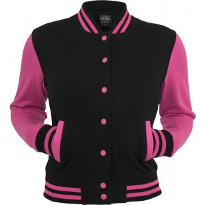 URBAN CLASSICS Ladies College Sweatjacke schwarz/fuchsia