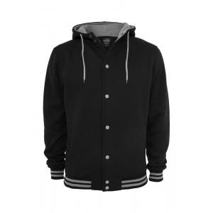 URBAN CLASSICS Hooded College Sweatjacke schwarz-grau