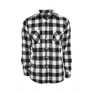 URBAN CLASSICS Checked Flanell Hemd schwarz-weiß