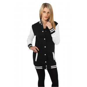 URBAN CLASSICS Ladies College Sweatjacke lang schwarz weiß f10a5f7a57