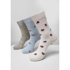 Recycled Yarn Fruit Socks 3-Pack grau, creme, hellblau