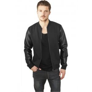 URBAN CLASSICS Zipped Kunstleder Sleeve Jacke (schwarz)