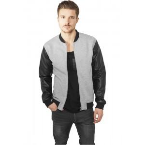 URBAN CLASSICS Zipped Kunstleder Sleeve Jacke (schwarz-grau)