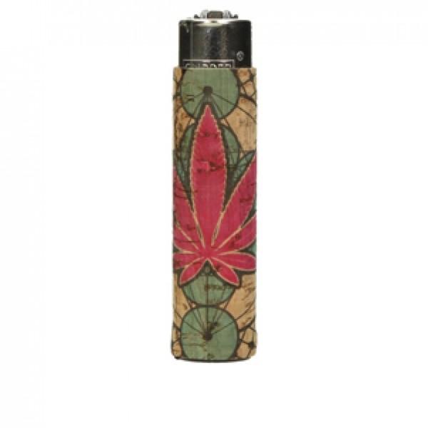 CLIPPER Feuerzeug Cork Cover Leaf #15 blau/rot (Handgenäht)
