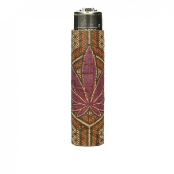 CLIPPER Feuerzeug Cork Cover Leaf #15 lila/orange (Handgenäht)