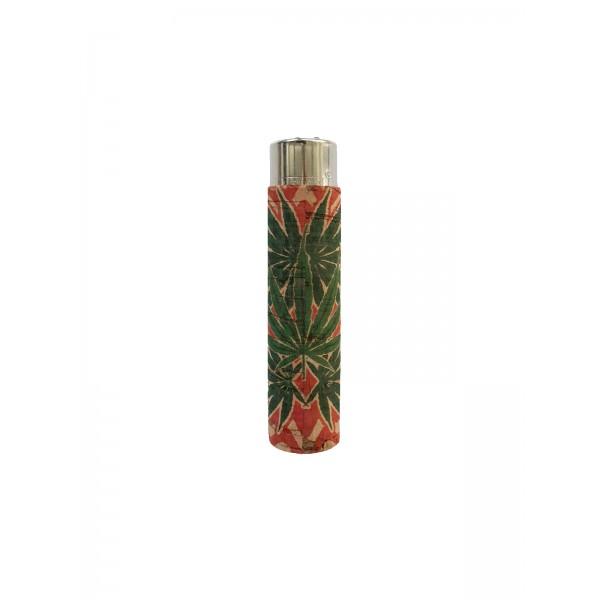 CLIPPER Feuerzeug Cork Cover Leaf #17 rot/grün (Handgenäht)