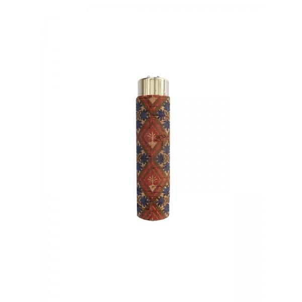CLIPPER Feuerzeug Cork Cover Leafs Batik mini rot/blau