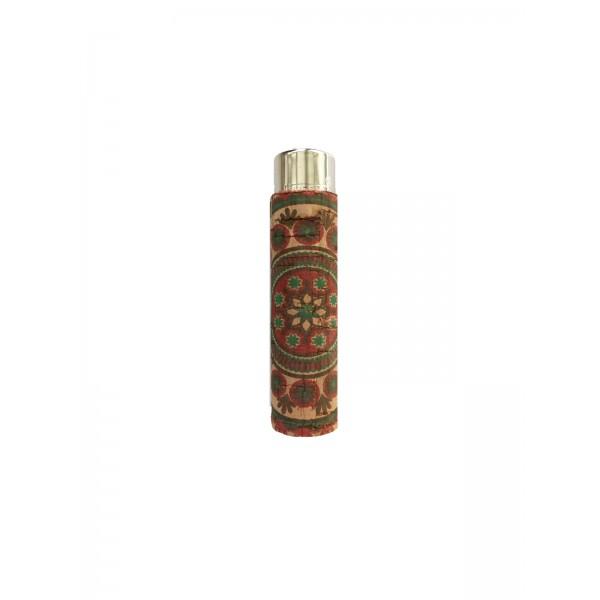CLIPPER Feuerzeug Cork Cover Leafs Batik mini rot/grün (Handgenäht)