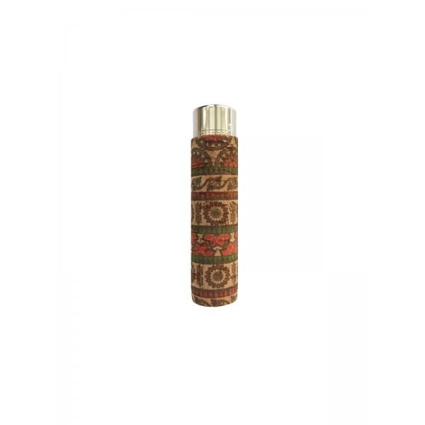 CLIPPER Feuerzeug Cork Cover Leafs Batik mini rot/braun (Handgenäht)
