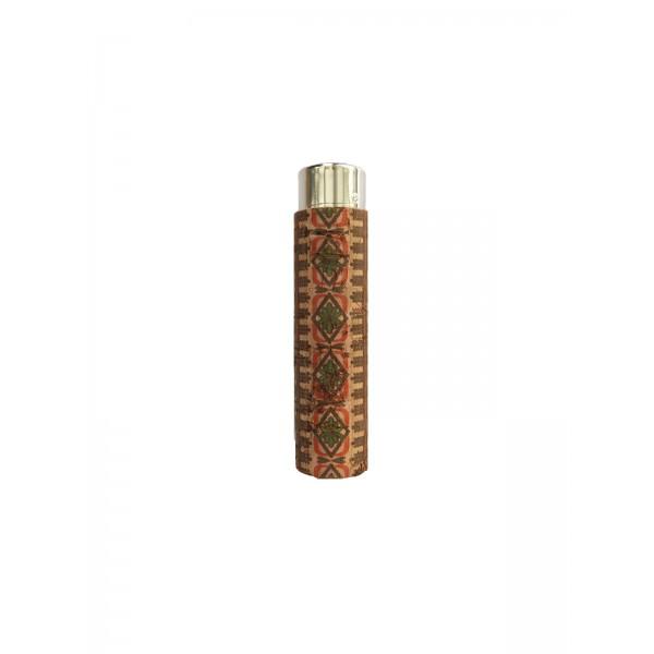 CLIPPER Feuerzeug Cork Cover Leafs Batik mini braun/rot (Handgenäht)