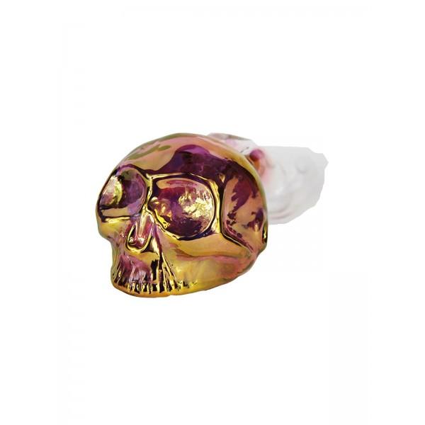 2Beees handgefertigte Glaspfeife Skull 15 cm